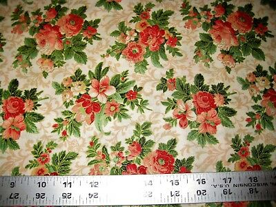 Cotton Quilting Fabric #1341 Christmas Berries on Red by the Yard