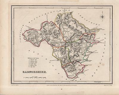 ANTIQUE WALKER MAP OF RADNORSHIRE - FROM LEWIS'S TOPOGRAPHICAL DICTIONARY(c1845)