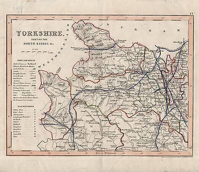 ANTIQUE WALKER MAP OF YORKSHIRE - FROM LEWIS'S TOPOGRAPHICAL DICTIONARY(c1845)
