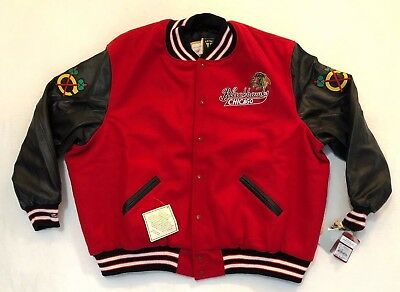 MITCHELL & NESS MENS CHICAGO BLACKHAWKS NHL VARSITY JACKET Leather Wool 64 $625