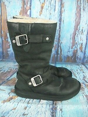 e5b736ee6b9 UGG AUSTRALIA 5678 Kensington Black Leather Shearling Lined Boots Women's  Size 6