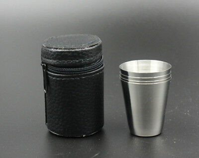 4pcs Stainless Steel Shot Glass Cup Drinking Mug w/PU Leather Cover Case Set