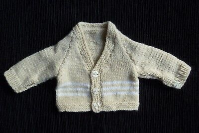 Baby clothes UNISEX GIRL BOY premature/tiny/doll<3lb/1.6k coffee/white cardigan