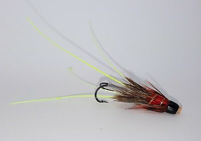 3 RED FRANCIS HEAVY WEIGHT CONEHEAD  SALMON FLIES BY  TEVIOTFLIES TOP PATTERN