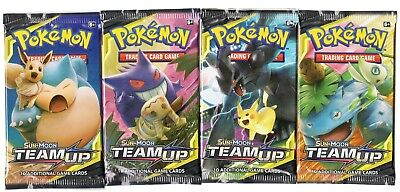 Pokemon - Sun Moon Team Up - 4 Booster Pack Lot - Factory Sealed Packs