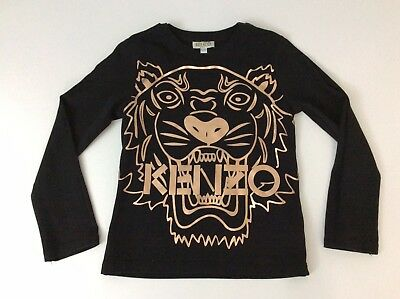 Kenzo Black Tiger Face T Shirt Top Age 5 Years Vgc Girls
