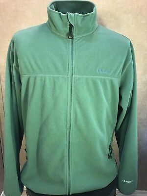 Vintage LL Bean Fleece Jacket Mens Full Zip Large Green Retro Polyester