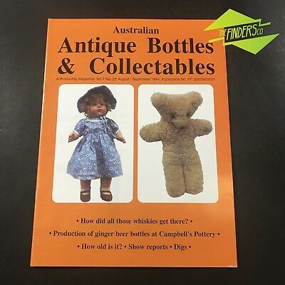 AUSTRALIAN ANTIQUE BOTTLES & COLLECTABLES MAGAZINE Vol.1 No.25 1994 DOLLS TEDDY
