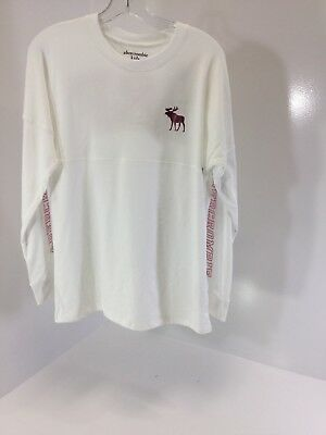 1d6322a48e55 Abercrombie Kids Girls Long Sleeve Graphic T-shirt Size 15 16 White NWT