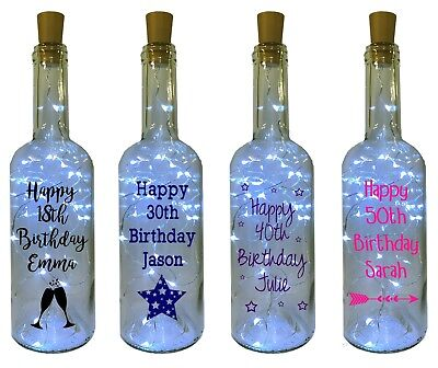 Personalised Birthday gift LED Light up Bottle 18th 21st 30th 40th 50th 60th Age