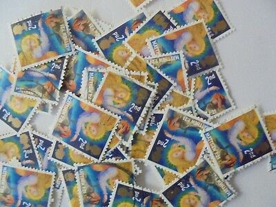 200 x 2nd Class  Xmas GB Stamps Joseph with Angel - Used - Off Paper  - 2011