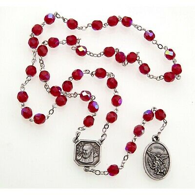 Ruby Red St Saint Michael Padre Pio Guardian Angel Rosary Beads Chaplet 6MM