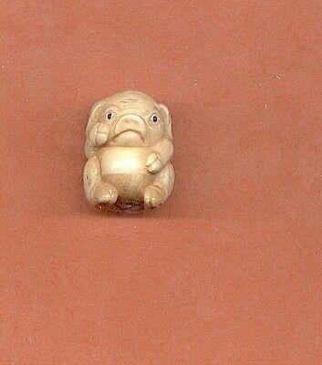Sitting Pig Ojime Bead Hand Carved  Japanese  Miniature Figurine 35