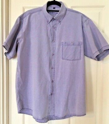 Mens Oakman Vintage Label Purple Short Sleeved Cotton Shirt Size M chambray Feel
