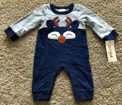 33c592715d0b CAT   JACK Baby Boys  Blue Gray Long Sleeve Reindeer Romper -  9.99 ...