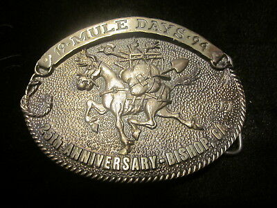 MULE DAYS BISHOP CALIFORNIA BELT BUCKLE LIMITED EDITION 1994 25th ANNIVERSARY