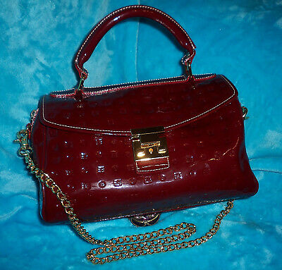 afd86a853 ARCADIA Signature Maroon Patent Leather Satchel Cross Body Bag - MADE IN  ITALY
