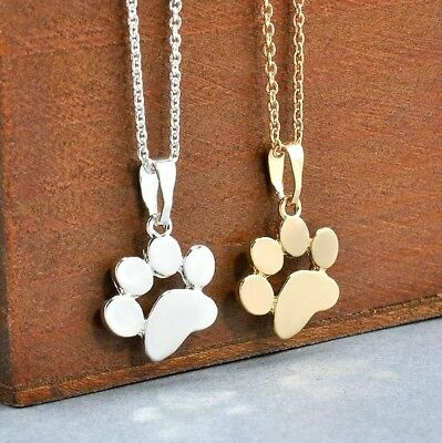 """Cat Dog Paw Print Necklace 18"""" Chain Adjustable Choose Gold or Silver Quick Ship"""
