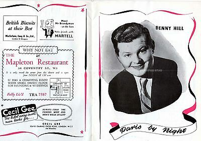 Vintage Benny Hill Tommy Cooper Prince Of Wales Theatre Programme Paris By Night