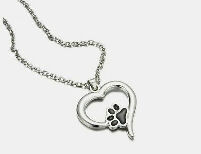 """Cat Dog Paw Print Heart Necklace 18"""" Chain Adjustable Black Silver Quick Ship"""