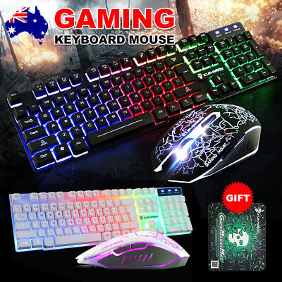 Gaming Keyboard Ergonomic USB LED Backlight Mouse Pad for PC Laptop Mac LOL Game