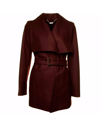 b8ccffc6160a Ted Baker Adalya Cashmere Wool Grape Wine Coat Size 2 UK 10 Celebs Towie RRP £