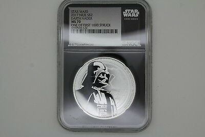 2017 Niue Silver Star Wars Vader $2 NGC MS70 1 of First 1,000 Struck Black Slab