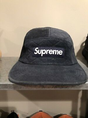 eb051d07783 SUPREME BOX LOGO Quilted Suede Camp Cap -  44.00