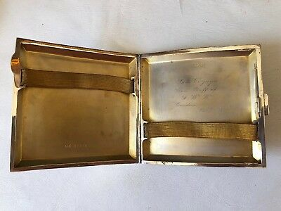 1930's Vintage Sterling Silver English Cigarette Case 113 Grams Not Scrap