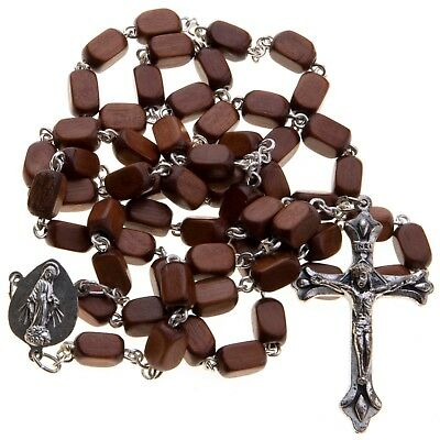 Brown Wood Classic Rosary for Men Rectangular Beads Catholic Chain Necklace