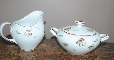 Harmony House Fine China West Wind Pattern Creamer & Sugar Bowl With Lid, Japan