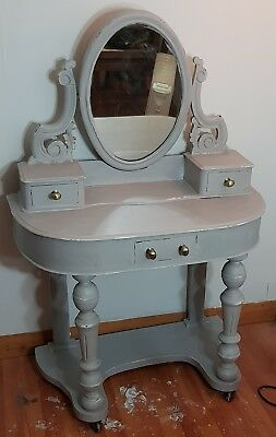 Shabby Chic Ornate Painted Grey Victorian Duchess Dressing Table