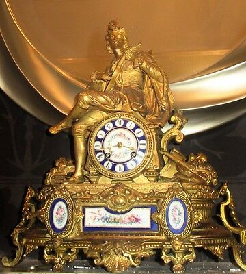 PH Mourey JAPY FRERES Large ORMOLU MINSTREL CLOCK Sevres Musician PROF  CLEANED