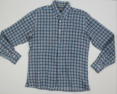 aa3d37d1195 Canali L 16 ½ 37 Men's Casual Long Sleeve Linen Shirt Made In Italy Plaid