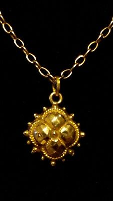 COLLECTIBLE Antique 9ct Gold Victorian ETRUSCAN REVIVAL Pendant/Necklace in Box*