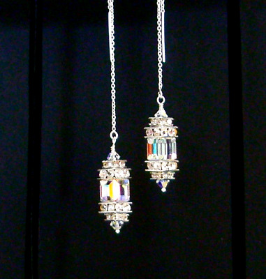*IAJ* STERLING SILVER Ear Thread Threader Earrings w/ SWAROVSKI CRYSTAL AB CUBES