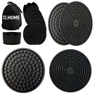 Silicone Coaster Set 8 LARGE Drink Coasters + 1 Holder Carry Bag Prevents Conden
