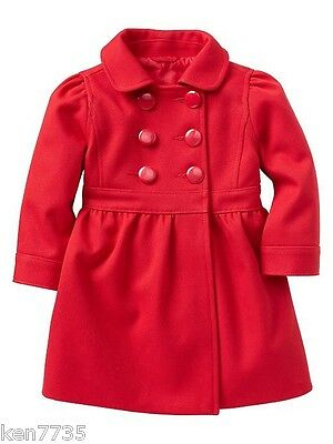 Nwt Baby Gap Girls Festive Holiday Red Coat Size 4 4T
