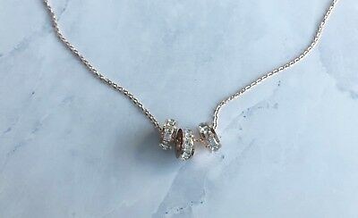 """3 Rings charms with Cubic Zirconia, 14k Gold Plated Simple 18"""" long Necklace"""