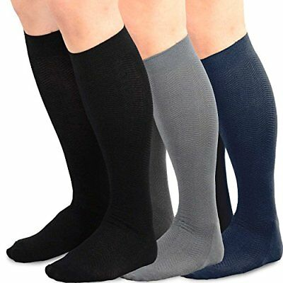 TeeHee Men's Bamboo Dress Over the Calf Socks Assorted Color Black Grey New . .