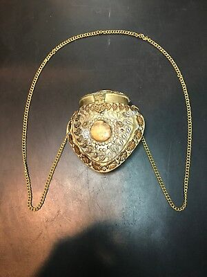 Antique Brass Shoulder Purse With Three Stones And Original Chain.1920s-30s!