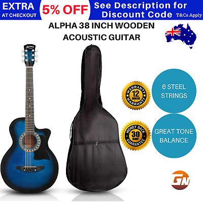 Alpha 38 Inch Wooden Acoustic Guitar 3/4 Blue Steel String Set - Blue