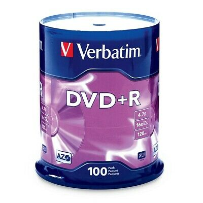 Verbatim DVD+R 4.7GB/16X - 100 Pack Spindle with Branded Surface
