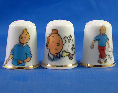 Fine Porcelain China Thimbles - Set Of  Three Tintin And Snowy