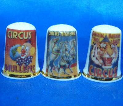 Birchcroft Porcelain China Thimbles - Set Of Three Circus Posters
