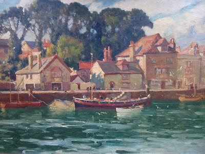 JOSEPH HENNAH (1896-1963) original OIL PAINTING of WEYMOUTH LIFEBOATS DORSET
