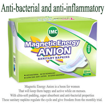IMC Sanitary Napkins | Magnetic Energy Anion Anti-Bacterial - 10 Pads Per Pack