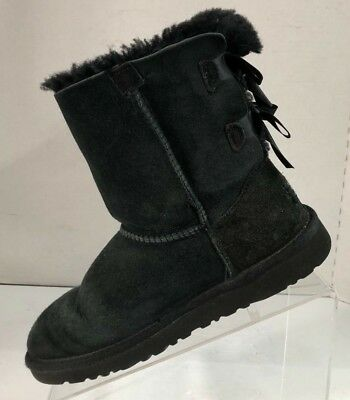 a1c98acad34 UGG AUSTRALIA GIRL'S Bailey Bow Black Sheepskin Boots with Ribbons Shoe  Size 4M