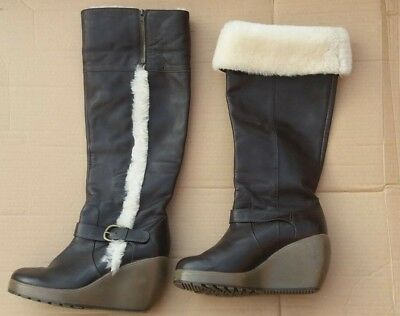 b539070bf049 Staccato ladies brown leather wedge heel knee long boots fur trim size 6  Eur 39