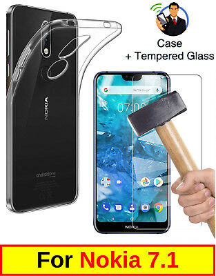 Slim Clear Cover Soft Tpu Gel Case And Tempered Glass Protector For Nokia 7.1